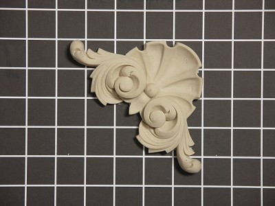 "Shell Corner - 4-1/2"" W x 4-1/2"" H x 5/8"" Thick - Architectural Decoration"