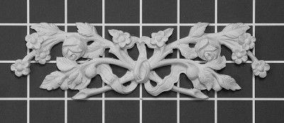 "Floral with Ribbon - 7"" W x 2"" H x 1/2"" Thick - Architectural Decoration"