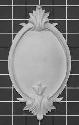"Framed Shield with Acanthus Leaf - 4-3/4"" W x 8-3/8"" H x 5/8"" Thick - Architectural Decoration"