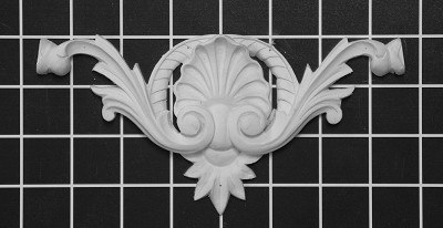 "Shell Center - 7-1/4"" W x 3-5/8"" H x 3/4"" Thick - Architectural Decoration"
