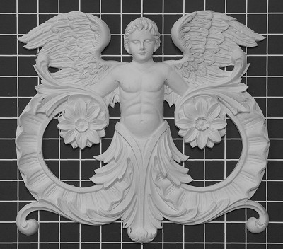 "Male Angel Center - 12-1/2"" W x 11-1/2"" H x 1"" Thick - Architectural Decoration"