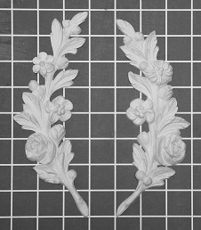 "Left and Right Floral Stem - 3"" W x 8"" H x 1/2"" Thick (Sold in Pairs) Ornamental Architectural Decoration"