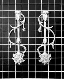"Left and Right Floral Vine - 2-3/4"" W x 8"" H x 1/2"" Thick (Sold in Pairs) Ornamental Architectural Decoration"