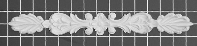"Floral Scroll with Rosette Center - 1-3/4"" W x 14-1/2"" H x 3/8"" Thick - Architectural Decoration"