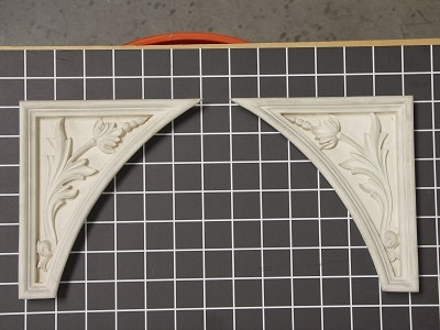 "Left and Right Flower Stem Corners - 6-3/16"" W x 6-5/8"" H x 7/8"" Thick (Sold in Pairs) Ornamental Architectural Decoration"