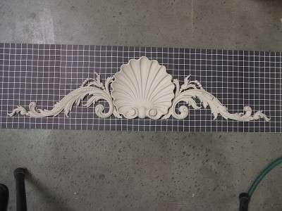 "Acanthus Swags with Shell Center Piece - 47"" W x 11"" H x 2-1/4"" Thick - Architectural Decoration"