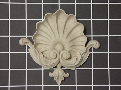 "Shell Center - 4-1/2"" W x 4-7/8"" H x 3/4"" Thick - Architectural Decoration"