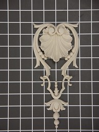 "Shell Center with Drop - 3-7/8"" W x 8-3/4"" H x 3/4"" Thick - Architectural Decoration"