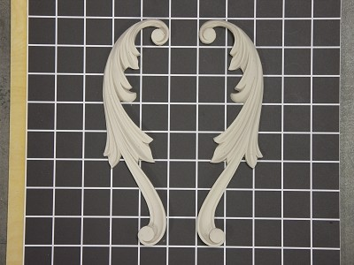 "Left and Right Acanthus Swags - 8"" W x 2-3/8"" H x 3/8"" Thick (Sold in Pairs) Ornamental Architectural Decoration"