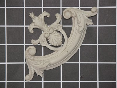 """Fleur-de-lis"" Corner Element - 5-1/2"" W x 3-1/4"" H x 1/2"" Thick - Architectural Decoration"