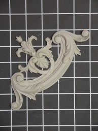 """Fleur-de-lis"" Corner Element - 6-7/8"" W x 3-3/4"" H x 5/8"" Thick - Architectural Decoration"