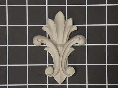 "Medium ""Fleur-de-lis"" Style Onlay - 2-5/8"" W x 3-5/8"" H x 3/8"" Thick - Architectural Decoration"