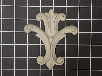 "Large ""Fleur-de-lis"" Style Onlay - 4-1/4"" W x 4-3/4"" H x 3/8"" Thick - Architectural Decoration"