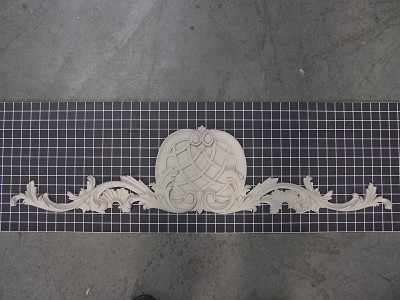 "Carved Vine with Closed Weaved Center Piece - 41"" W x 9-1/4"" H x 3/4"" Thick - Architectural Decoration"