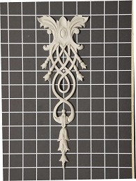 "Oval Center with Weaved Vine Drop - 3-3/4"" W x 11"" H x 3/8"" Thick - Architectural Decoration"