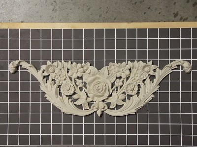 "Floral Onlay with Acanthus Swags - 17"" W x 5-3/8"" H x 3/4"" Thick - Architectural Decoration"