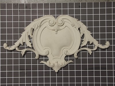 "Shield with Acanthus Swags Onlay - 17"" W x 9-3/8"" H x 3/4"" Thick - Architectural Decoration"