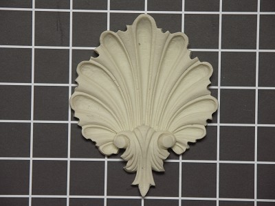 "Shell Onlay with Acanthus Bottom - 4"" W x 4-7/8"" H x 3/4"" Thick - Architectural Decoration"