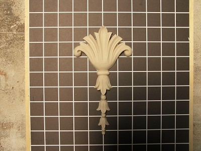 "Acanthus Drop - 4"" W x 7-1/2"" H x 5/8"" Thick - Architectural Decoration"