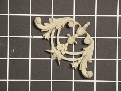 "Floral Vine Corner with Acanthus Swags - 2-3/4"" W x 2-3/4"" H x 3/8"" Thick - Architectural Decoration"