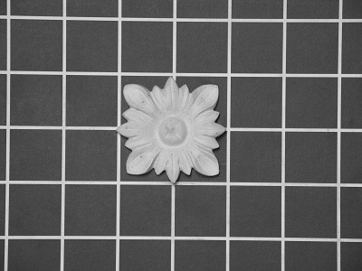 "2"" Square: Flower Rosette - 2"" W x 2"" H x 3/8"" Thick."