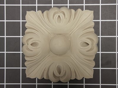 "4-11/16"" Floral Rosette - 4-11/16"" W x 4-11/16"" H x 7/8"" Thick"