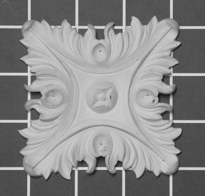 "3"" Square: Acanthus Rosette - 3-1/4"" W x 3-1/4"" H x 1/2"" Thick"