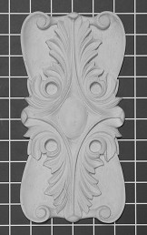 "Acanthus Leaf Rosette - 5"" W x 10"" H x 1/2"" Thick"