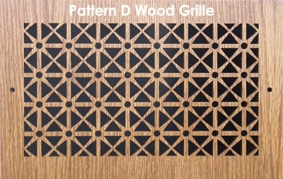 "Wall & Ceiling Wood Vent Grille - Pattern ""D"" Design"