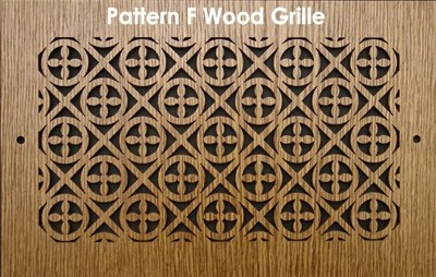 "Wall & Ceiling Wood Vent Grille - Pattern ""F"" Design"