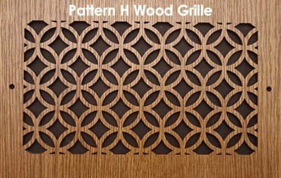 "Wall & Ceiling Wood Vent Grille - Pattern ""H"" Design"