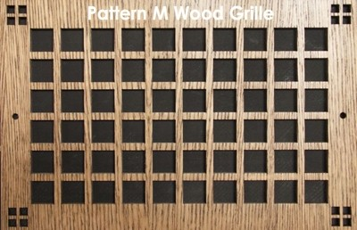 "Wall & Ceiling Wood Vent Grille - Pattern ""M"" Design"