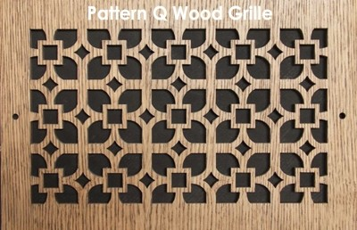 "Wood Vent Grille - Pattern ""Q"" Design"