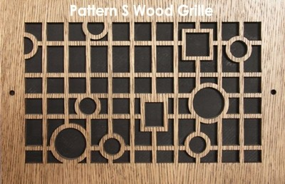 "Wall & Ceiling Wood Vent Grille - Pattern ""S"" Design"