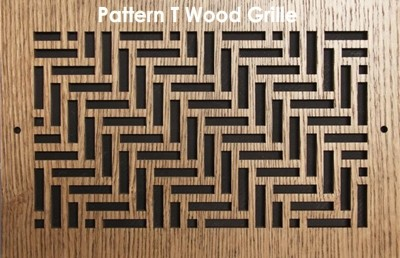 "Wood Vent Grille - Pattern ""T"" Design"