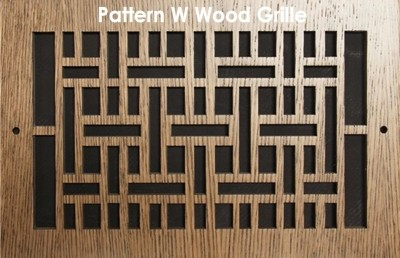"Wall & Ceiling Wood Vent Grille - Pattern ""W"" Design"