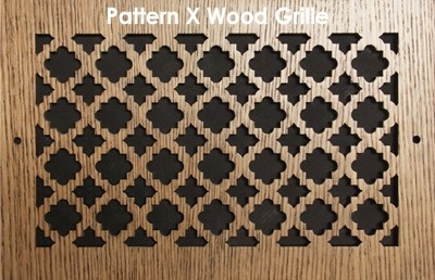 "Wall & Ceiling Wood Vent Grille - Pattern ""X"" Design"
