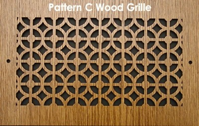 "Wall & Ceiling Wood Vent Grille - Pattern ""C"" Design"